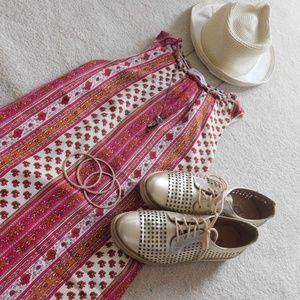 patterned pink, orange and cream dress